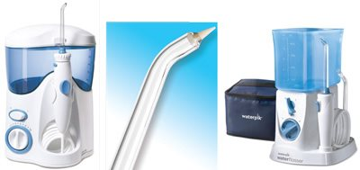 Figures 6a, b, c: From left to right, Waterpik Ultra Water Flosser, Waterpik PikPocket Tip, and Waterpik Traveler Water Flosser